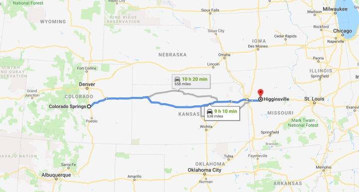 Colorado Springs, Colorado to Higginsville, Missouri 64037 - Google Maps