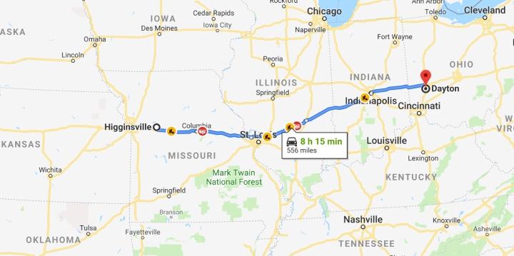 Higginsville, Missouri 64037 to Dayton, Ohio - Google Maps