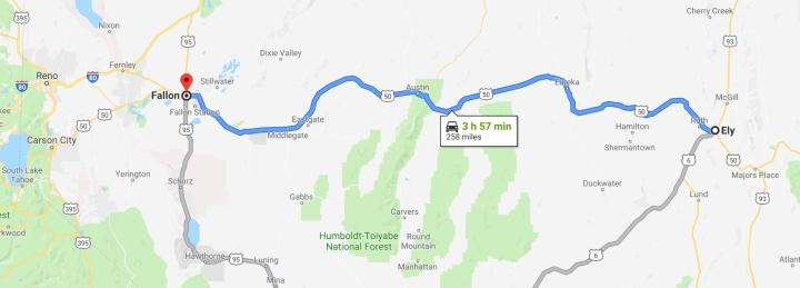 Ely, Nevada 89301 to Fallon, Nevada 89406 - Google Maps