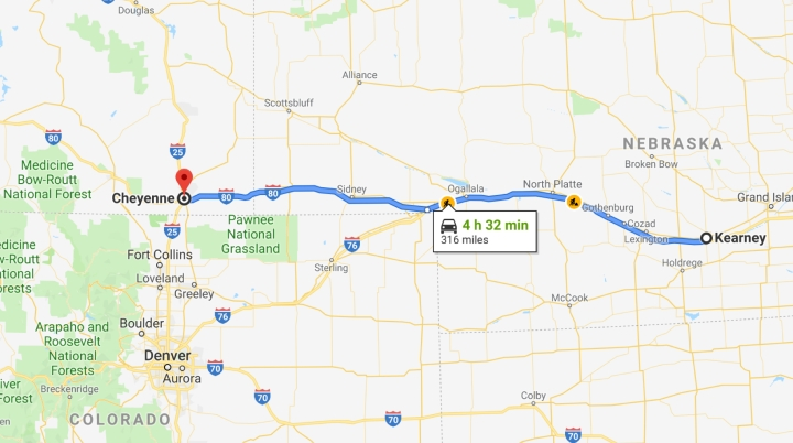Kearney, Nebraska to Cheyenne, Wyoming - Google Maps