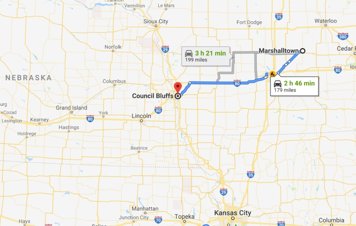 Marshalltown, Iowa to Council Bluffs, Iowa - Google Maps