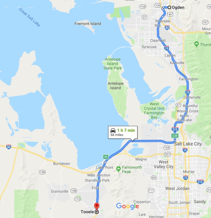 Ogden, Utah to Tooele, Utah 84074 - Google Maps
