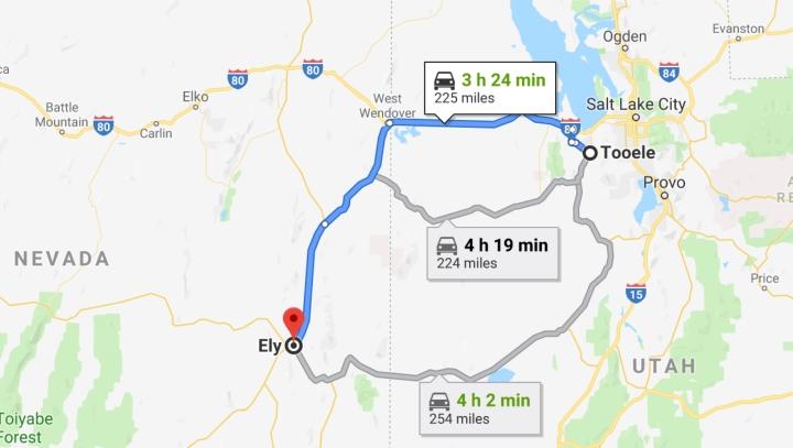 Tooele, Utah 84074 to Ely, Nevada 89301 - Google Maps
