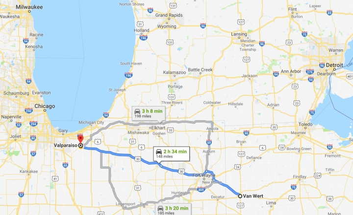 Van Wert, Ohio to Valparaiso, Indiana - Google Maps